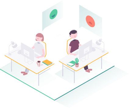 employees sitting at desk